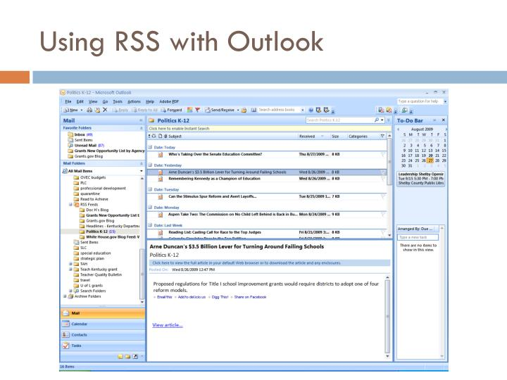 Using rss with outlook