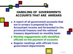 handling of governments accounts that are arrears