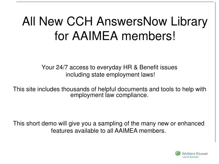 all new cch answersnow library for aaimea members n.