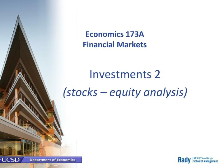 economics 173a financial markets n.
