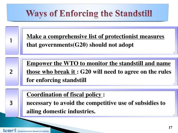 Ways of Enforcing the Standstill
