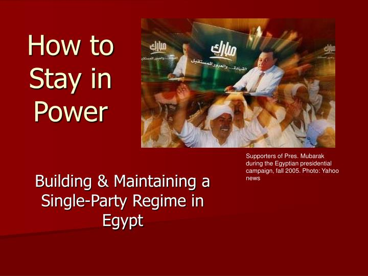 how to stay in power n.
