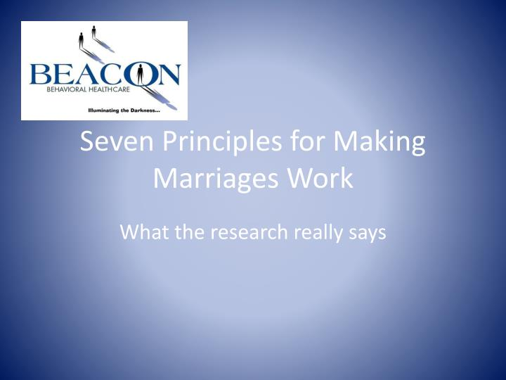 seven principles for making marriages work n.