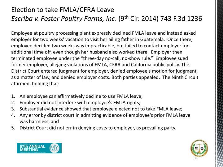 Election to take FMLA/CFRA Leave
