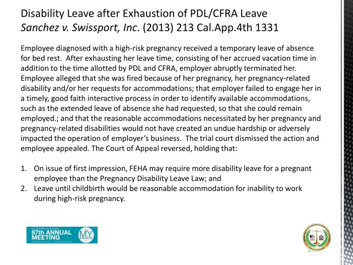 Disability Leave after Exhaustion of PDL/CFRA Leave
