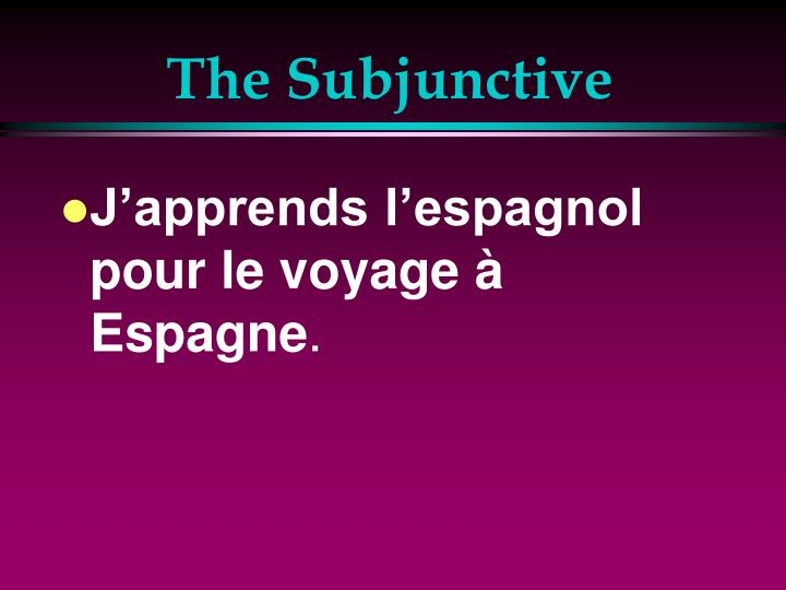 The subjunctive1