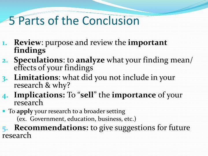 5 Parts of the Conclusion