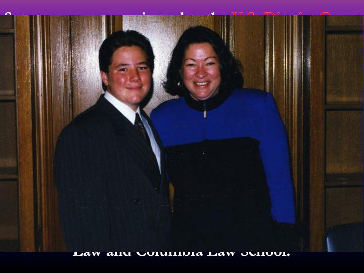 Sotomayor was nominated to the U.S. District Court for the Southern District of New York by President George H. W. Bush in 1991, and her nomination was confirmed in 1992. In 1997, she was nominated by President Bill Clinton to the U.S. Court of Appeals for the Second Circuit. Her nomination was slowed by the Republican majority in the United States Senate, but she was eventually confirmed in 1998. On the Second Circuit, Sotomayor heard appeals in more than 3,000 cases and wrote about 380 opinions. Sotomayor has taught at the New York University School of Law and Columbia Law School.