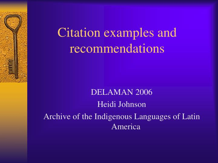 citation examples and recommendations n.