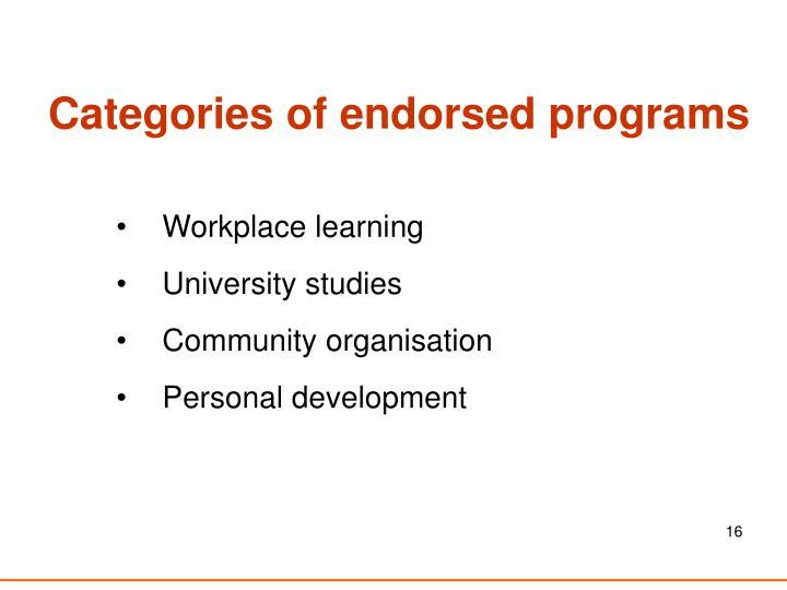 Categories of endorsed programs