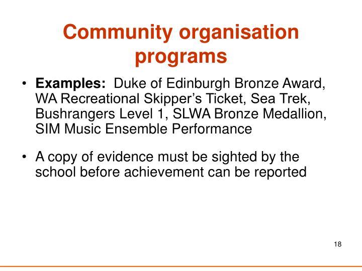 Community organisation programs