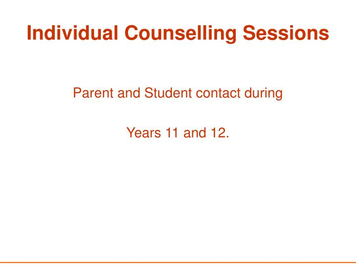 Individual Counselling Sessions