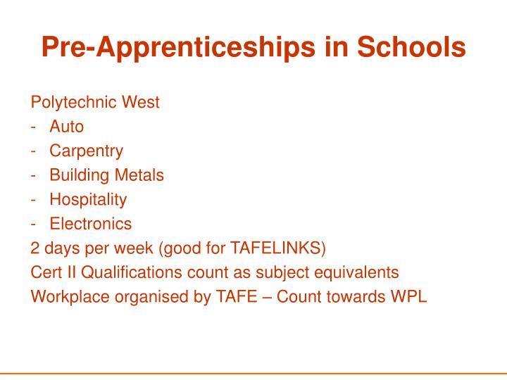 Pre-Apprenticeships in Schools