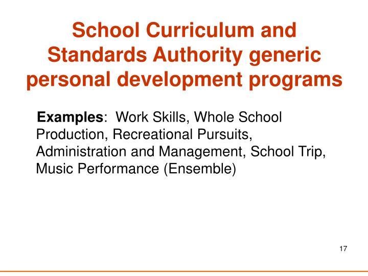 School Curriculum and Standards Authority generic personal development programs