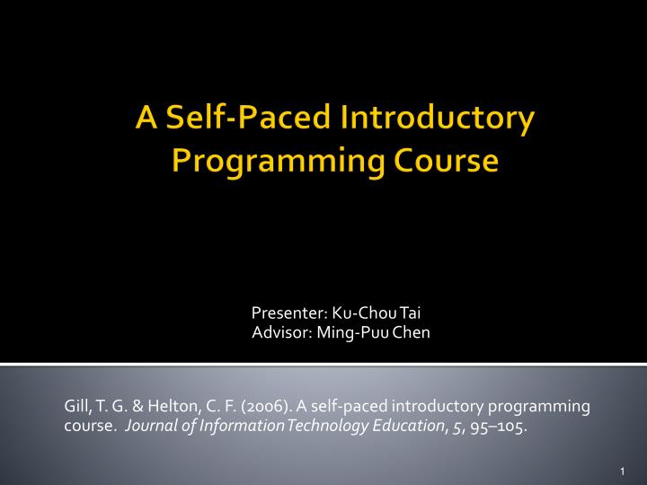 a self paced introductory programming course n.