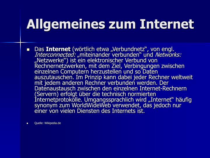 Allgemeines zum Internet