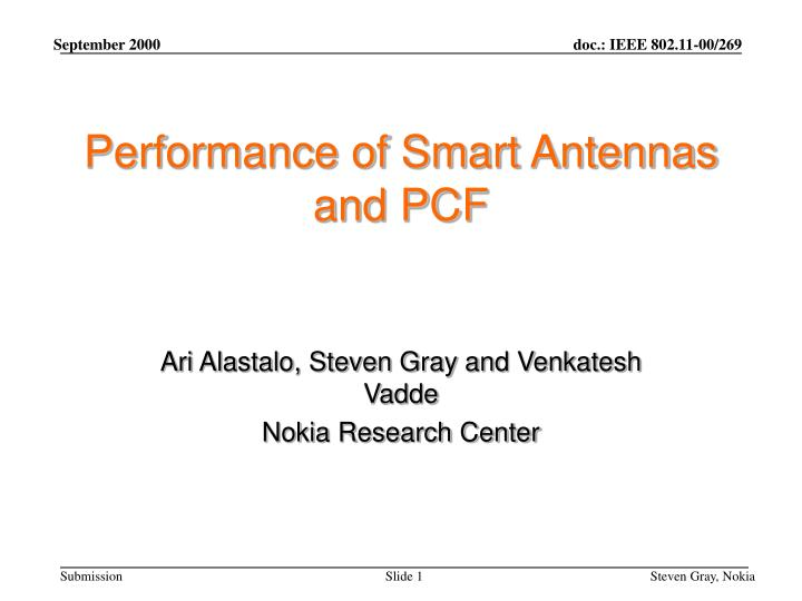 performance of smart antennas and pcf n.