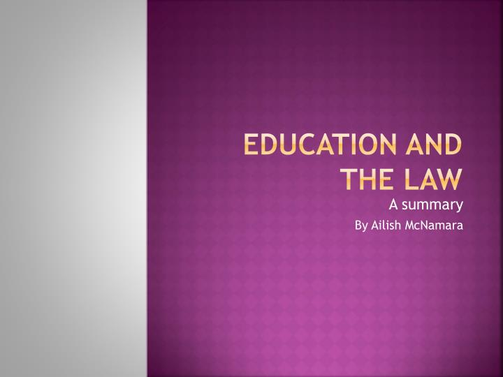 education and the law n.