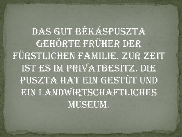 Das Gut Békáspuszta gehörte früher der fürstlichen Familie. Zur Zeit ist es im Privatbesitz. Die Puszta hat ein Gestüt und ein landwirtschaftliches Museum.
