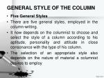 general style of the column