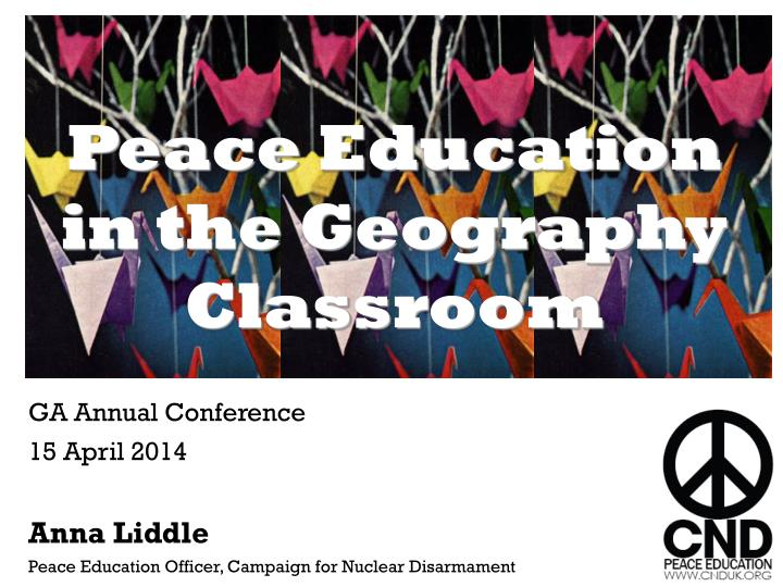 peace education in the geography classroom