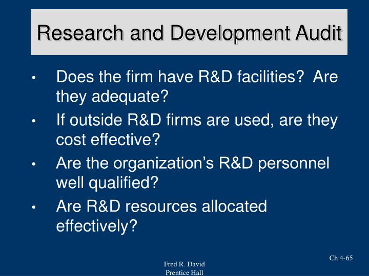 Research and Development Audit