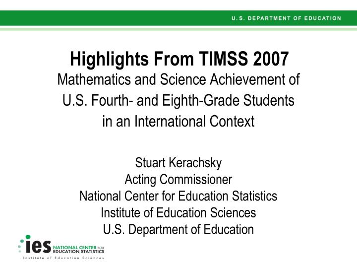 highlights from timss 2007 n.