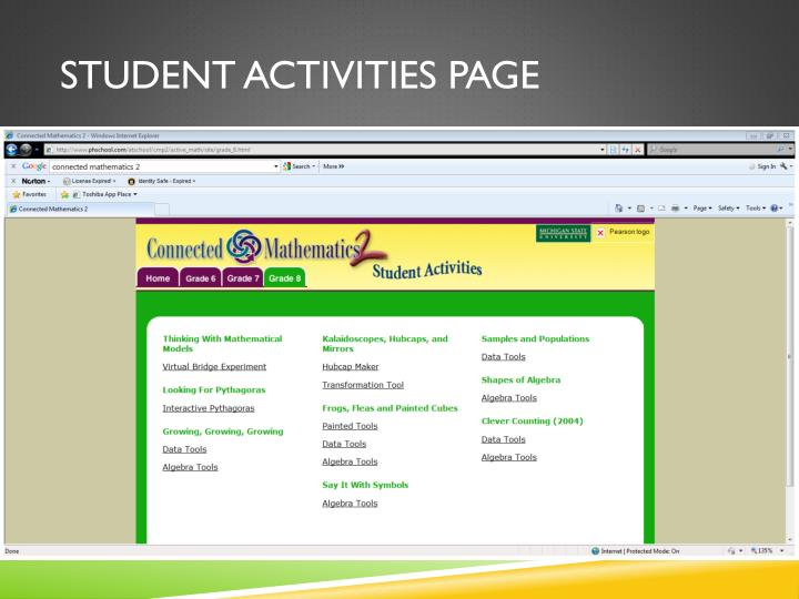 Student activities page