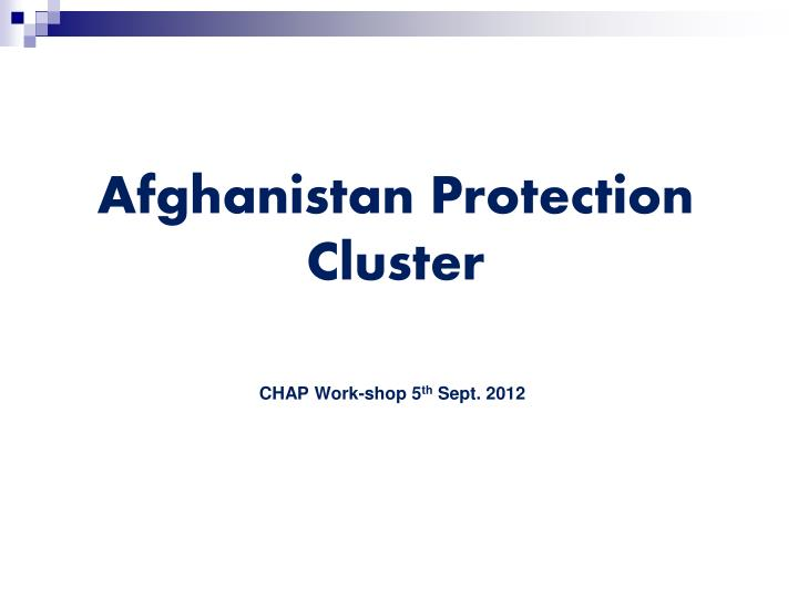 afghanistan protection cluster n.