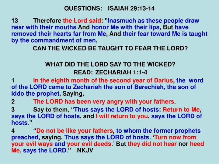 QUESTIONS:ISAIAH 29:13-14