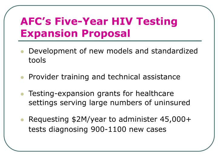 AFC's Five-Year HIV Testing Expansion Proposal