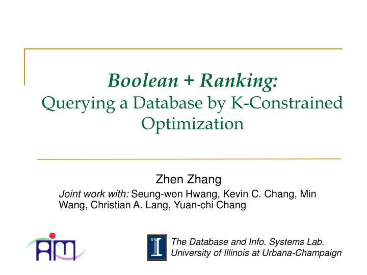 boolean ranking querying a database by k constrained optimization n.