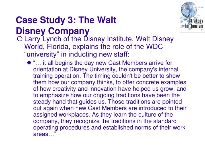 """Larry Lynch of the Disney Institute, Walt Disney World, Florida, explains the role of the WDC """"university"""" in inducting new staff:"""