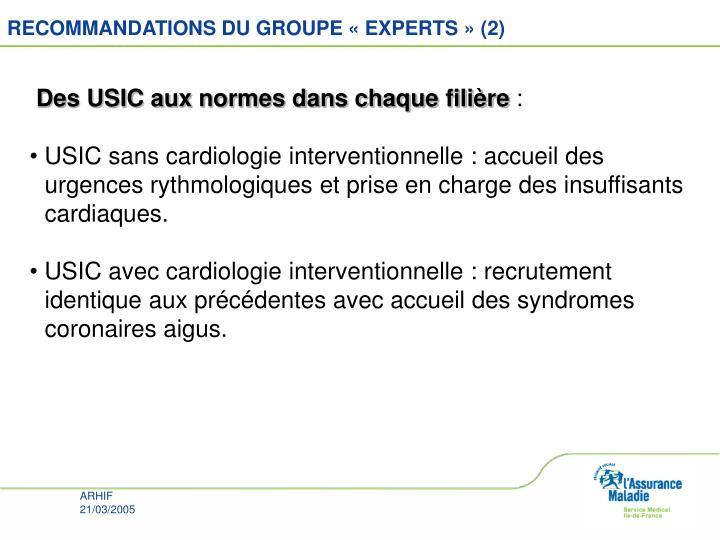 RECOMMANDATIONS DU GROUPE «EXPERTS» (2)