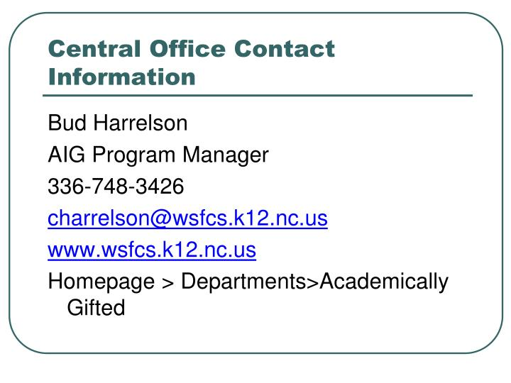 Central Office Contact Information