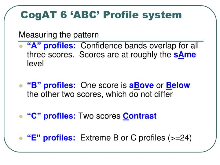 CogAT 6 'ABC' Profile system