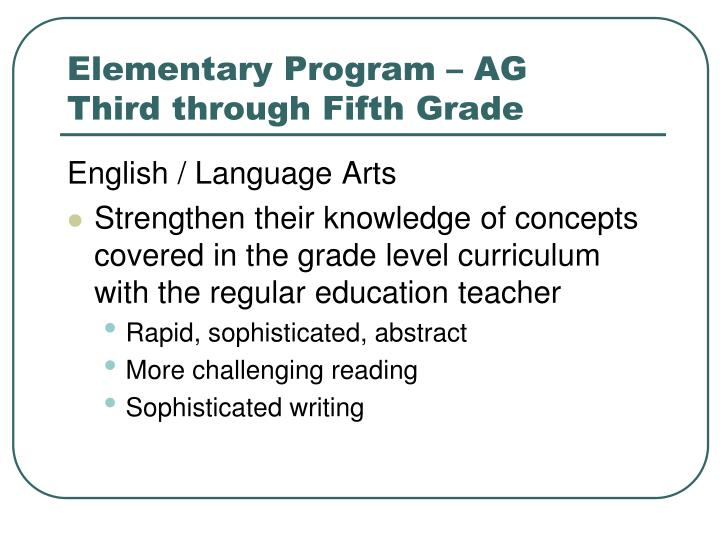 Elementary Program – AG