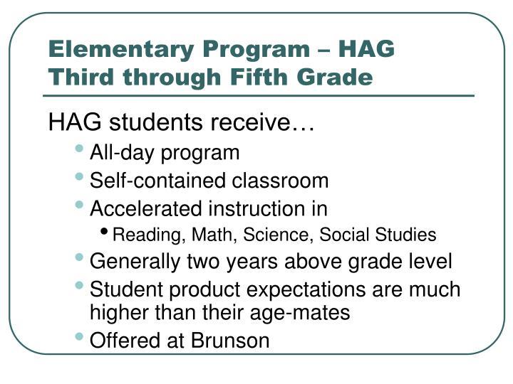 Elementary Program – HAG