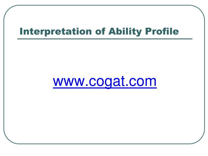 Interpretation of Ability Profile