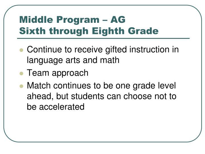 Middle Program – AG