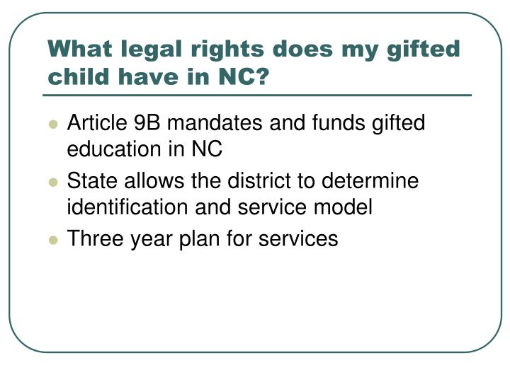 What legal rights does my gifted child have in NC?