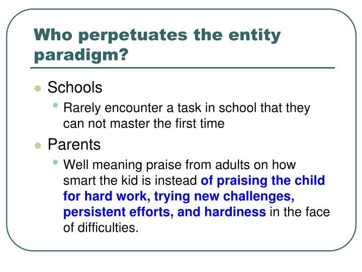 Who perpetuates the entity paradigm?