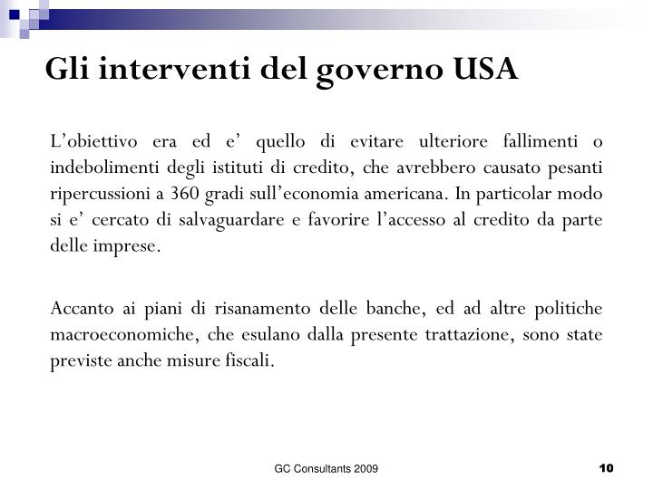 Gli interventi del governo USA