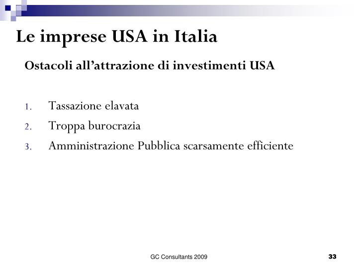 Le imprese USA in Italia
