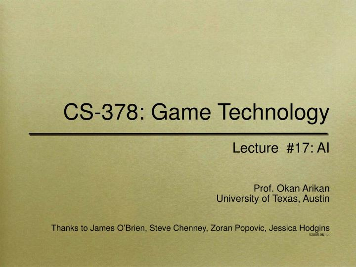 cs 378 game technology n.