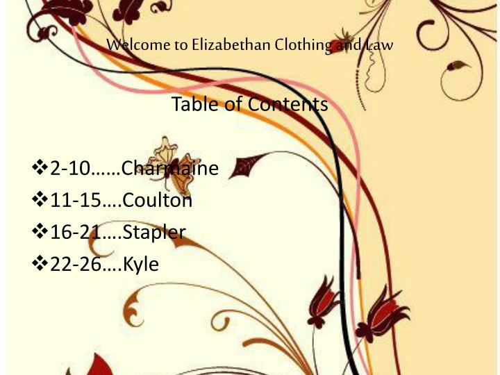 welcome to elizabethan clothing and law n.