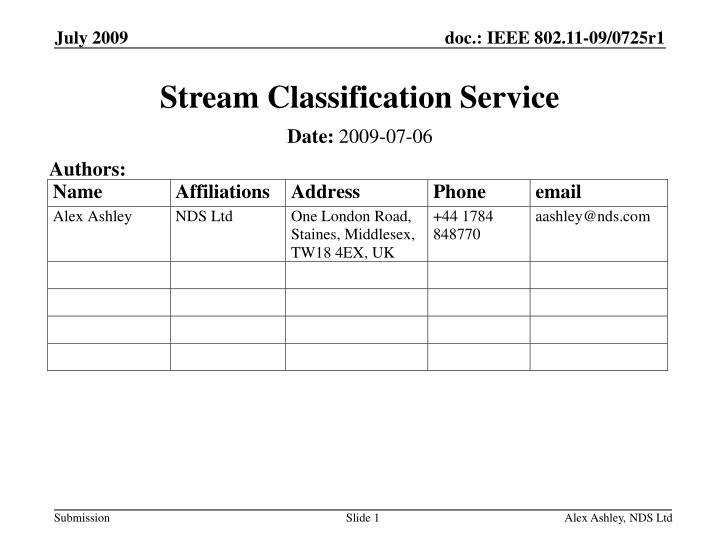 stream classification service n.