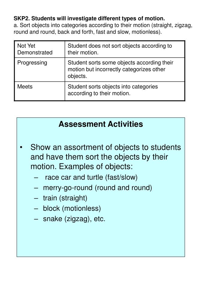 SKP2. Students will investigate different types of motion.
