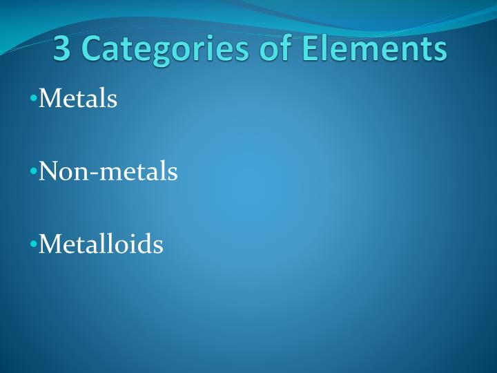 3 Categories of Elements