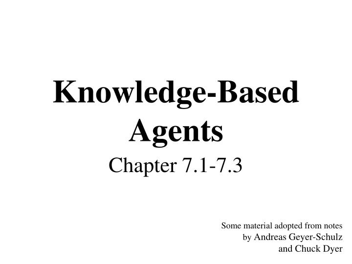 Knowledge based agents
